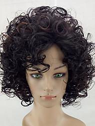 baratos -Perucas sintéticas Kinky Curly Cabelo Sintético Cabelo com Luzes / Reflexos Marrom Peruca Médio Sem Touca Marrom hairjoy