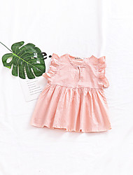 cheap -Baby Girl's Daily Solid Dress, Cotton Linen Bamboo Fiber Acrylic Spring Simple Vintage Sleeveless Blushing Pink