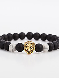 cheap -Men's Women's Onyx Black Matte 1pc Bracelet Strand Bracelet - Vintage Fashion Ethnic Circle Leopard Gold Silver Bracelet For Gift Evening