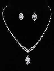 cheap -Women's Cubic Zirconia / Rhinestone Silver Drop Jewelry Set 1 Necklace / Earrings - Classic / Vintage / Elegant Silver Drop Earrings /