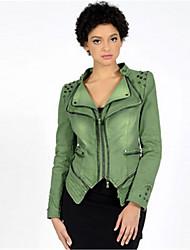 economico -Giacca di jeans Standard Per donna Quotidiano Moda città Primavera Autunno, Tinta unita Colletto alla Peter Pan Altro