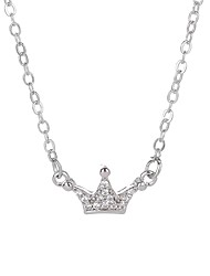 cheap -Women's Crown Rhinestone Pendant Necklace  -  Basic Crown Silver Necklace For Graduation Formal