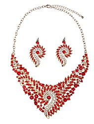 Недорогие -Жен. Синтетический алмаз Комплект ювелирных изделий - Классика, Крупногабаритные Включают Серьги-слезки / Ожерелья с подвесками Красный Назначение Обручение / Официальные