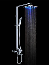 cheap -Contemporary Wall Mounted Rain Shower Handshower Included LED Brass Valve Chrome , Shower Faucet