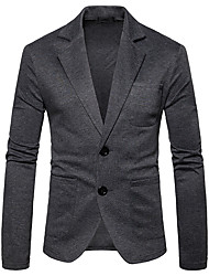 cheap -Men's Sports Street chic Winter Fall Regular Blazer, Solid Shirt Collar Polyester