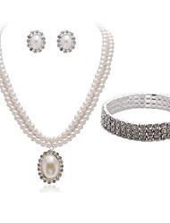 Недорогие -Жен. Комплект ювелирных изделий - Искусственный бриллиант европейский, Мода Включают Браслет / Свадебные комплекты ювелирных изделий Белый Назначение Свадьба / Для вечеринок