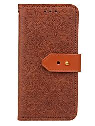Недорогие -Кейс для Назначение SSamsung Galaxy S9 S9 Plus Бумажник для карт Кошелек со стендом Флип Рельефный Чехол Сплошной цвет Твердый Кожа PU для