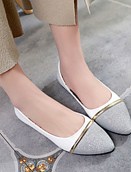 cheap -Women's Shoes PU Spring Summer Comfort Loafers & Slip-Ons Chunky Heel Block Heel Pointed Toe for Casual Dress Silver Black/Gold Golden