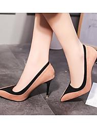 preiswerte -Damen Schuhe Nubukleder Frühling Herbst Komfort High Heels Stöckelabsatz für Normal Schwarz Rot Mandelfarben