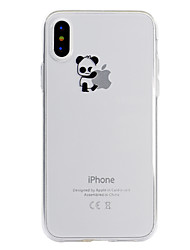 cheap -Case For Apple iPhone X iPhone 8 Transparent Pattern Back Cover Playing with Apple Logo Panda Soft TPU for iPhone X iPhone 8 Plus iPhone