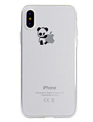 Недорогие -Кейс для Назначение Apple iPhone X iPhone 8 Прозрачный С узором Кейс на заднюю панель Композиция с логотипом Apple Панда Мягкий ТПУ для