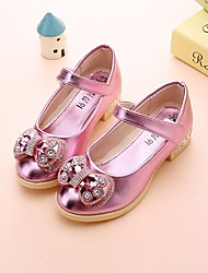 cheap -Girls' Shoes PU Spring Flower Girl Shoes Comfort Flats for Casual Gold Silver Pink