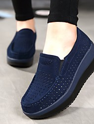 cheap -Women's Shoes Cowhide Summer / Fall Comfort Loafers & Slip-Ons Wedge Heel Round Toe Black / Dark Blue / Red