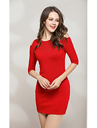 cheap -Women's Going out Cute Bodycon Dress - Solid Colored Cut Out High Waist