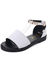 cheap -Women's Shoes Cashmere Summer Comfort Sandals Walking Shoes Low Heel Round Toe Beading for Casual White Black