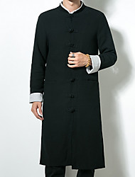 cheap -Men's Long Linen Trench Coat - Solid Colored Stand