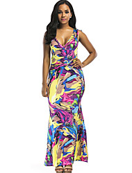 cheap -Women's Cute Casual Bodycon Sheath Dress - Floral Rainbow, Peplum Backless High Waist Maxi V Neck