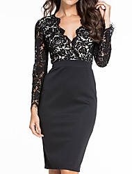 cheap -Women's Daily Casual Sheath Dress,Print V Neck Above Knee Sleeveless Polyester Fall High Rise Micro-elastic Opaque