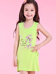 baratos -Menina de Vestido Diário Estampado Algodão Sem Manga Simples Fofo Verde Laranja Rosa Amarelo Fúcsia