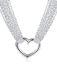 cheap -Women's Heart Silver Plated Pendant Necklace Chain Necklace - Fashion Lovely Sweet Heart Silver Necklace For Gift Daily