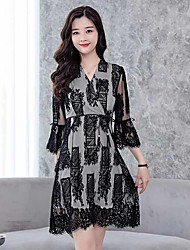 cheap -Women's A Line / Lace Dress - Solid Colored / Color Block V Neck / Spring / Fall
