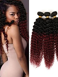 cheap -3 Bundles Brazilian Hair Kinky Curly Virgin Human Hair Ombre Hair Weaves Human Hair Weaves Human Hair Extensions
