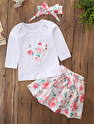 cheap -Girls' Daily Going out Floral Embroidered Clothing Set, Cotton Acrylic Spring Fall Long Sleeves Cute Casual Active White