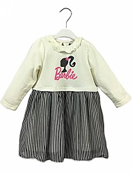 cheap -Girl's Daily Color Block Dress, Cotton Spring Fall Long Sleeves Casual Active Cartoon White