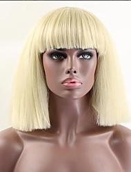 abordables -Pelo sintético pelucas Ondulado Peluca afroamericana Con flequillo Sin Tapa Peluca de fiesta Peluca natural Media Rubio