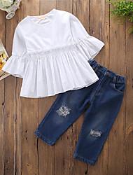 Недорогие -Девочки Набор одежды Повседневные На выход Хлопок Полиэстер Однотонный Полоски Весна Лето Простой На каждый день Синий Белый