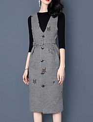 preiswerte -Damen Lässig/Alltäglich Jacquard Druck Einfach Kleid Ärmellos V-Ausschnitt Winter Herbst Baumwolle