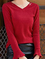 cheap -Women's Slim T-shirt - Solid, Modern Style V Neck