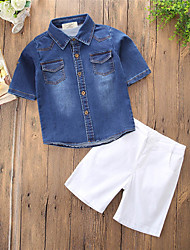 cheap -Boys' Daily Holiday Solid Clothing Set,Cotton Polyester Summer Short Sleeve Simple Casual Light Blue
