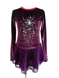 baratos -Vestidos para Patinação Artística Mulheres Para Meninas Patinação no Gelo Vestidos Roxo Elastano Roupa para Patinação Lantejoula Manga