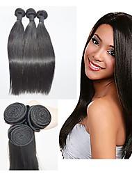 economico -Brasiliano Liscio Ciocche a onde capelli veri Tessiture capelli umani Nero Naturale Estensioni dei capelli umani