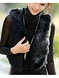 preiswerte -Damen Solide Street Schick Ausgehen Weste,V-Ausschnitt Winter Herbst Ärmellos Kurz Polyester