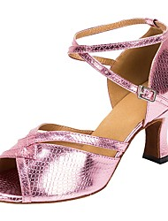 cheap -Latin Faux Leather Sandal Heel Customized Heel Pink Customizable