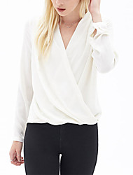 cheap -Women's Polyester Blouse - Solid V Neck