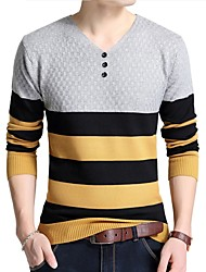 cheap -Men's Work Long Sleeves Pullover - Striped V Neck