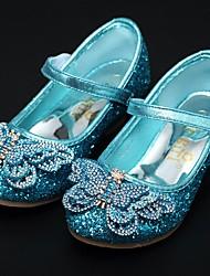 preiswerte -Mädchen Schuhe Glitzer Frühling Herbst Tiny Heels für Teens Schuhe für das Blumenmädchen Komfort High Heels für Normal Silber Blau Rosa