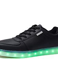 preiswerte -Schuhe PU Frühling Herbst Leuchtende LED-Schuhe Sneakers Walking Klettverschluss Schnürsenkel für Draussen Schwarz Rot