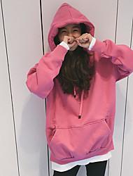 abordables -Mujer Tallas pequeñas Sudadera Noche Casual Un Color Con Capucha Sudaderas Microelástico Poliéster Mangas largas Invierno Otoño
