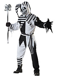 cheap -Burlesque Clown Cosplay Costume Male Halloween Festival / Holiday Halloween Costumes Black Plaid/Check