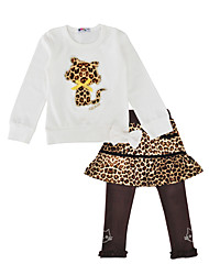 cheap -Girls' Daily Holiday Leopard Clothing Set, Cotton Spring Fall Long Sleeves Cute White