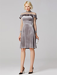 cheap -A-Line Princess High Neck Short / Mini Velvet Jersey Cocktail Party Dress with by TS Couture®