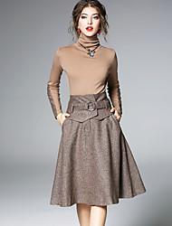 abordables -Mujer Trabajo Camiseta - Un Color Cuello Alto Alta cintura Falda