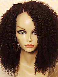 Недорогие -Натуральные волосы Бесклеевая кружевная лента Лента спереди Парик Бразильские волосы Kinky Curly Парик 130% Плотность волос с детскими волосами Природные волосы Парик в афро-американском стиле 100