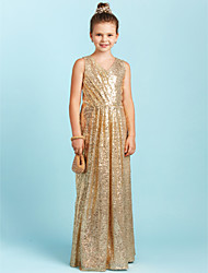 cheap -A-Line Princess V Neck Floor Length Sequined Junior Bridesmaid Dress with Sequin Pleats by LAN TING BRIDE®