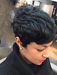 Недорогие -Человеческие волосы без парики Натуральные волосы Естественные волны Стрижка под мальчика Боковая часть Короткие Машинное плетение Парик