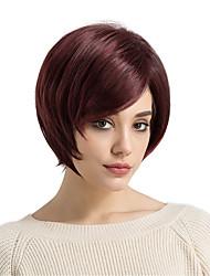Недорогие -Парики из искусственных волос Прямой С чёлкой Искусственные волосы Боковая часть Красный Парик Жен. Короткие Без шапочки-основы